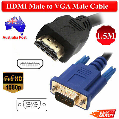 15Pin HDMI Male to VGA Male Cable Converter HD Lead 1080P For LCD Monitor Laptop