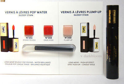 Yves Saint Laurent Ysl Glossy Stain Sampler 202 204 200 Plump Up & Mascara
