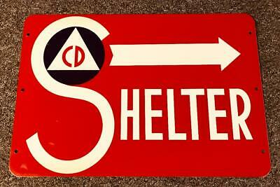 "VINTAGE "" Shelter Sign "" 1950 CD Cold War Era Civil Defense  Man Cave or Garage"