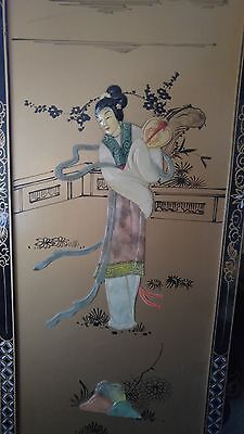 Chinese Raised Lacquer Hand Painting Art Picture Wall Decor Geisha