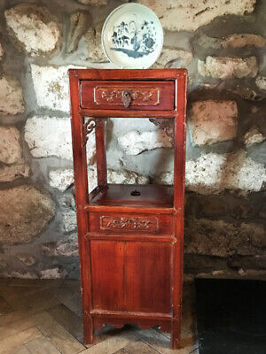 Antique Chinese Red Laquered Small Wooden Cabinet