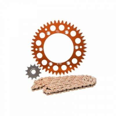 Primary Drive Alloy Kit & Gold Plated MX Race Chain Orange Rear Sprocket