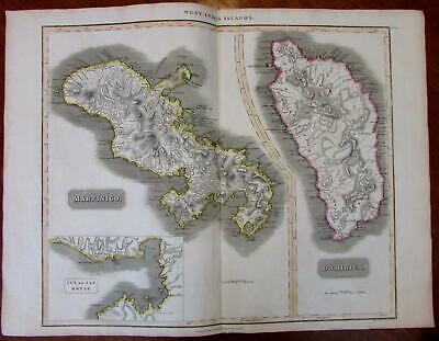 Martinique Dominica islands Cul de Sac Royal c.1815 large Caribbean Thomson map