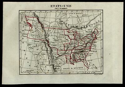 United States state of Jefferson & Columbia AK Terr.  1837 Tardieu miniature map
