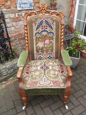 Handsome C19Th French Oak Carved Arm Chair~Fauteuil~Tapestry~Barleytwist~Castors