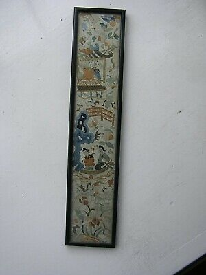 Antique Excellent Chinese Embroidered Silk Picture Panel 19th Century