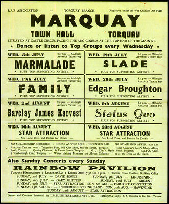 1972 Torquay Repro Concert Poster . David Bowie . Hawkwind . Status Quo . Family
