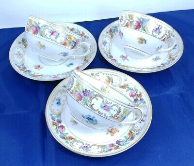 3 Vintage SCHUMANN Germany Empress Dresden Flowers Tea Cups & Saucers