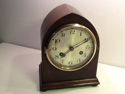 Vintage Gothic Style Oak Cased Twin Train Mantel Clock,silvered numerical dial