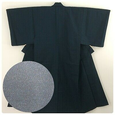 Japanese men's kimono, blue wool, medium, short, Japan import (AP2575)