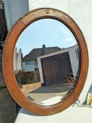 Large Antique Vintage Wall Hanging Oval Bevelled Mirror Ornate Wooden Frame