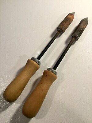 2 Large Copper Head Tip Wood Handle Soldering Irons Blacksmith - FREE SHIPPING