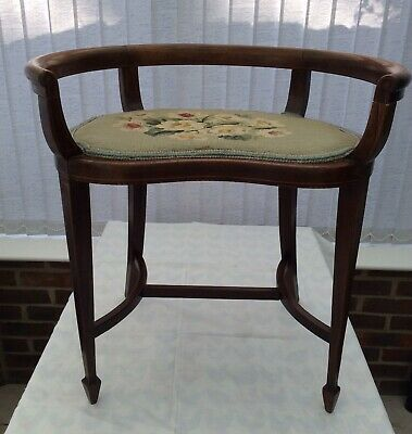 Edwardian Inlaid Mahogany Music Chair with Tapestry Seat
