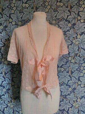 vintage 1930s lacey bed jacket blouse night sheer art deco peach pink original
