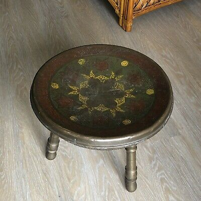 Antique Foot Stool Warmer Asian Indian Enamelled Etched Brass Pierced 19C Old