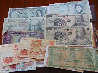 15 Lot  Foreign Currency Banknotes England Canada Mexico France Italy Spain Peru