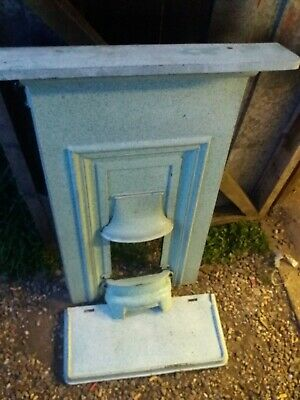 Rare Green enamelled Cast iron bedroom fireplace Feature Fire Surround