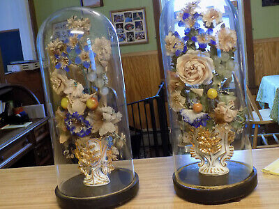 """2 Antique Victorian Glass Parlor Flower Domes  19"""" tall 8"""" base  LOOK!"""