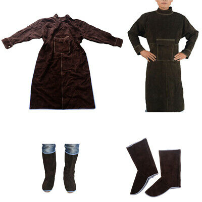 Welding Work Apron XXL Apron Comes with 1Pair Welding Shoes Protectors Brown