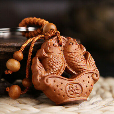 Double Carp Coin Wood 3D Carving Chinese Fengshui Pendant Key Chain Keyring