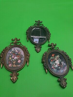 Vintage Small Ornate Oval Brass Picture Frame Made in ITALY. Set of 3