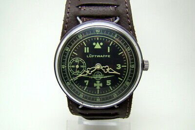 GERMAN PILOT LUFTWAFFE MILITARY WATCH WAR2 WW2 TYPE VINTAGE vs STRAP