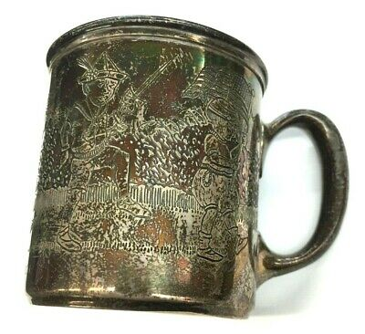 Antique Sterling Silver .999 Americana/American Flag/ Children/Drum & Fife/ Cup