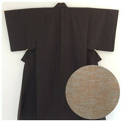 Japanese men's kimono, brown wool, medium, short, Japan import (AP2578)