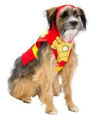 IRON MAN Dog Pet Tee Costume w/attached Hood NEW!