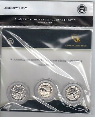 2010 US Mint ATB 3-Coin Quarter Set Yellowstone S-mint proof/P&D National Park