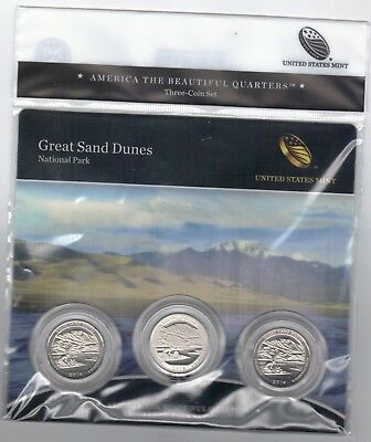 BU sealed 2014 Great Sand Dunes National Park  PDS mints ATB 3-coin set quarters