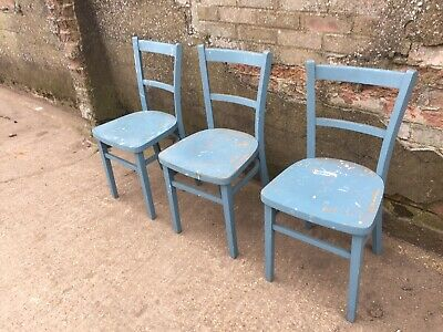3 x Blue Vintage Beech & Plywood Church Chapel Bistro Restaurant Cafe Chairs