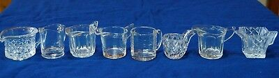 8 Mini Jugs Creamers Glass Crystal