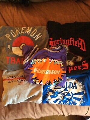 Lot of 5 Pre-owned Random Men's Graphic Tees T-Shirts size Large