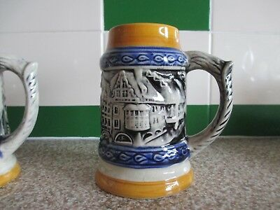 Vintage Pair of German Pottery Tankards Souvenir from Munich