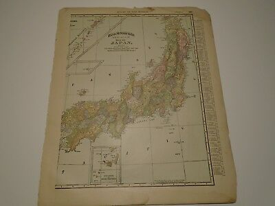 Antique Original 1895 Rand McNally Colored Map JAPAN from Atlas of the World
