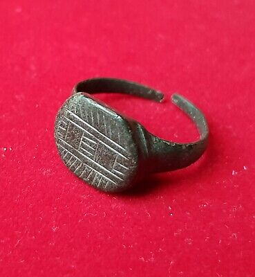 Ancient Roman bronze ring - GEOMETRICAL ENGRAVINGS - QUALITY adjustable size