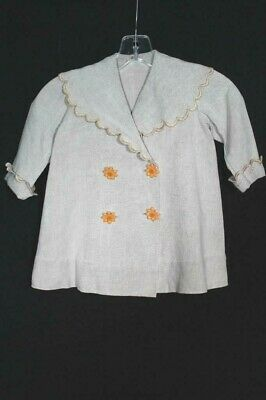 Very Rare Antique French Edwardian Era Childs Linen Coat Size 2-3 Years