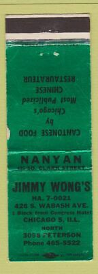 Matchbook Cover - Jimmy Wong's Chinese Restaurant Chicago IL
