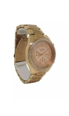 Caravelle New York 44L117 Women's Round Rose Gold Tone Analog Clear Stone Watch