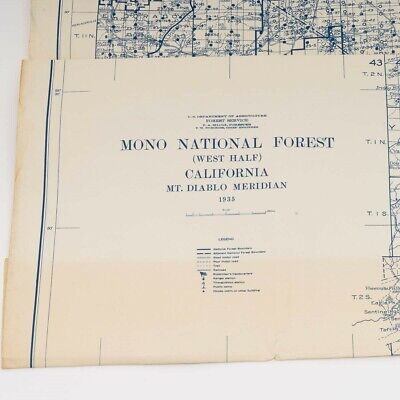 "1935 Topographic Map of Mono National Forest California Blue Ink 41.5"" x 58.5"""