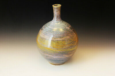 Pottery Hand Made,Wheel Thrown Bottle Vase. Blue Agate Ware Pattern-Rollins