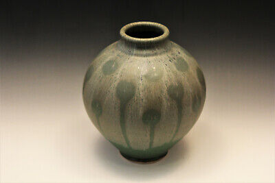 "Wheel Hand thrown Pottery Vase 9.5""Tx 8""W Green Drip Glaze -  Rollins"