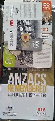 2015 Anzac Official Rememberance 15 Coin Set Collection With Rare $1 Poppy Coin
