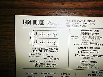 1964 DODGE EIGHT Series 880 Models 413 CI V8 w/4BBL Tach Drive Tune Up Chart