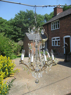 French Antique 8 Branch Chandelier Brass With Lead Crystal Drops  /4037