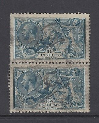 Pair of GB KGV 10s. Dull Grey-Blue SG417 SEAHORSES George V 1919 Used 10/- Stamp