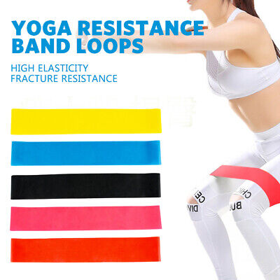 YOGA Resistance Loop Band Gym Fitness Exercise 5PCS Workout Heavy Duty
