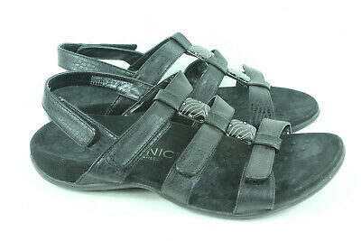 a32d35fd3c98 Vionic Women s Orthaheel Amber Black Leather Croc Print Sandals Size 40 US 9