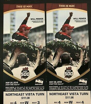 2 tickets INDIANAPOLIS 500, 2019 Indy 500; PLUS Drivers' Meeting Tickets